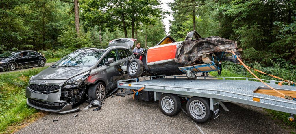 Rijkspolitie Porsche 911 Targa ongeluk